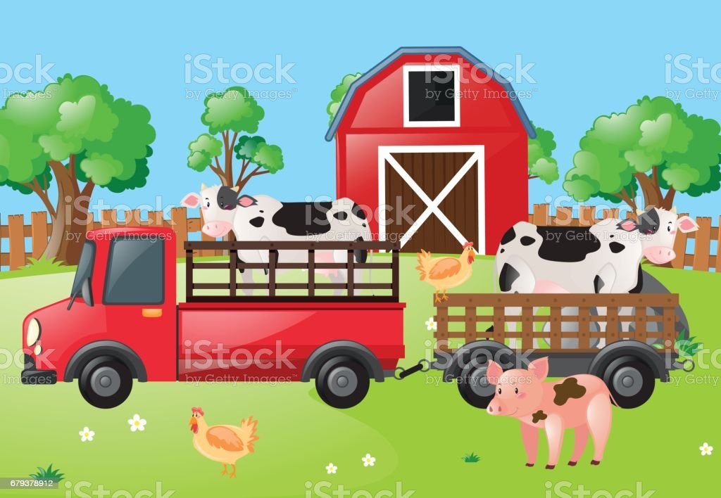 Farm scene with cows on the truck royalty-free farm scene with cows on the truck stock vector art & more images of agriculture