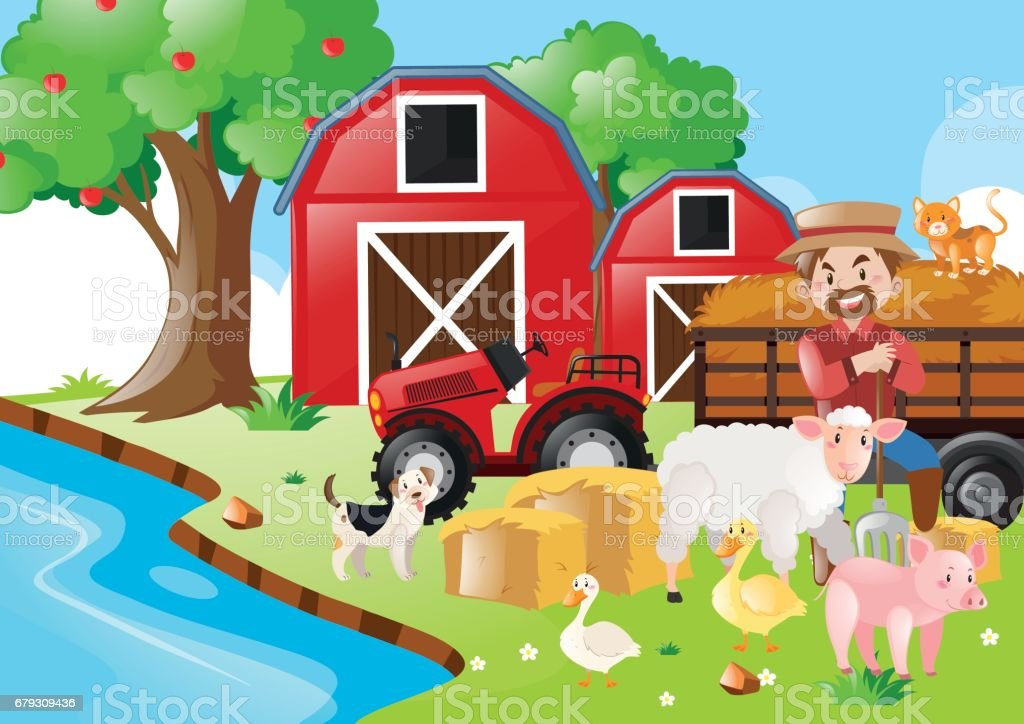Farm scene with farmer and animals royalty-free farm scene with farmer and animals stock vector art & more images of adult