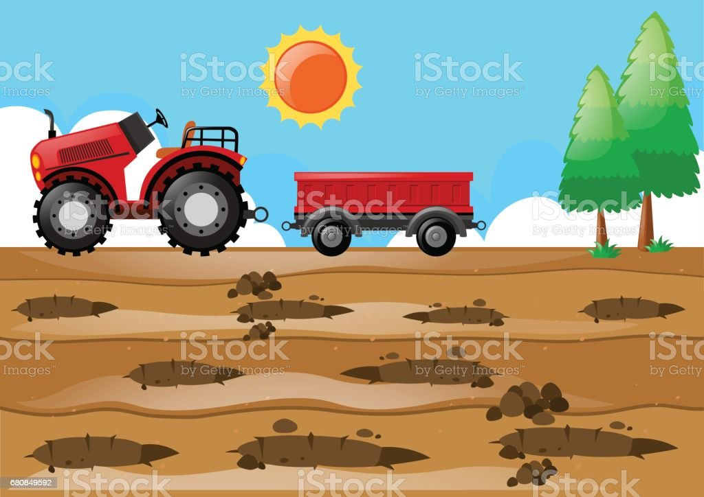Farm scene with tractor in the field vector art illustration