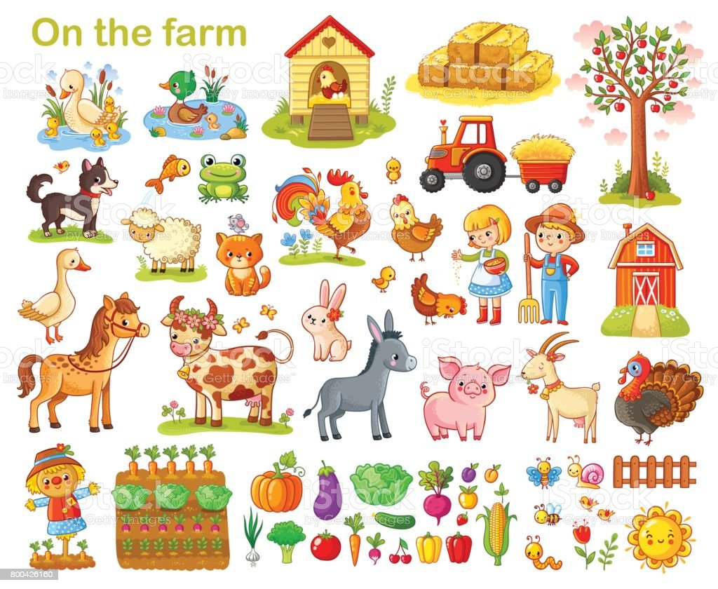 Farm set with animals. vector art illustration