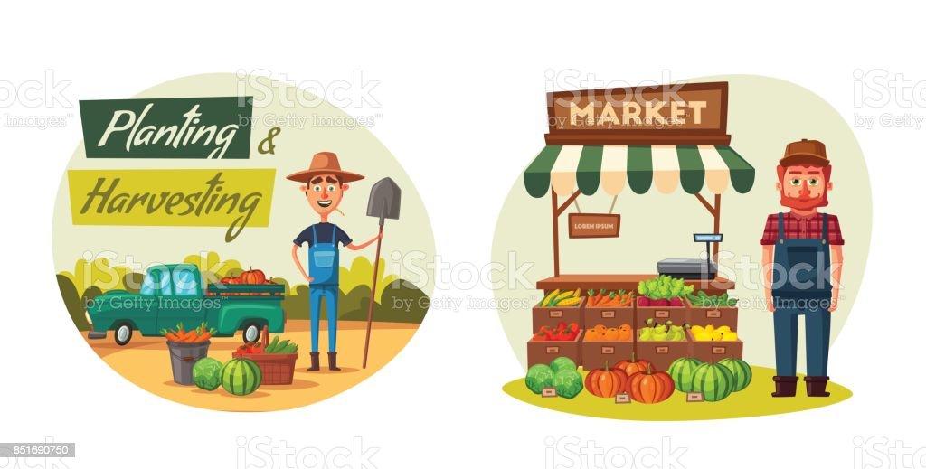 Farm set with farmers and products. Cartoon vector illustration. vector art illustration