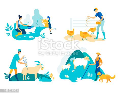 Farm Set with Poultry and Livestock Cartoon Flat.