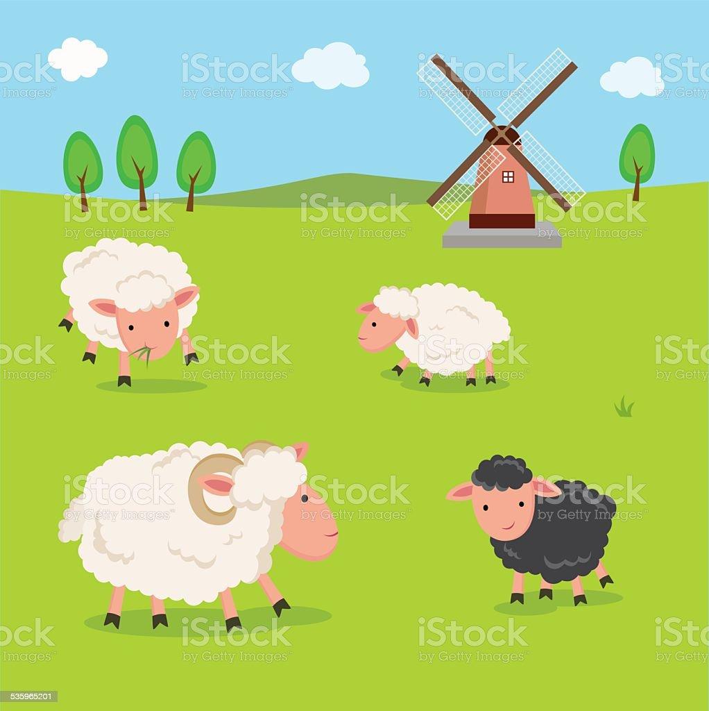 Farm. Sheep and windmill. vector art illustration