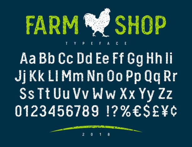 çiftlik dükkanı yazı tipi 001 - rustik stock illustrations