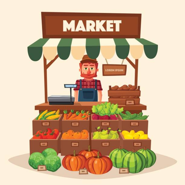 Farm shop. Local stall market. Selling vegetables. Cartoon vector illustration. Farm shop. Local stall market. Selling vegetables. Cartoon vector illustration. Isolated on white background. Fresh food grocer stock illustrations