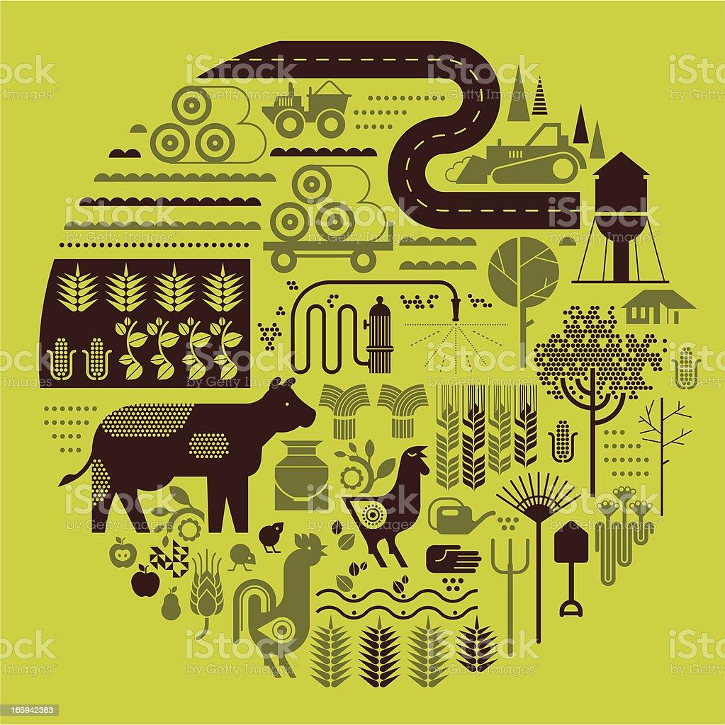 Farm silhouettes royalty-free stock vector art
