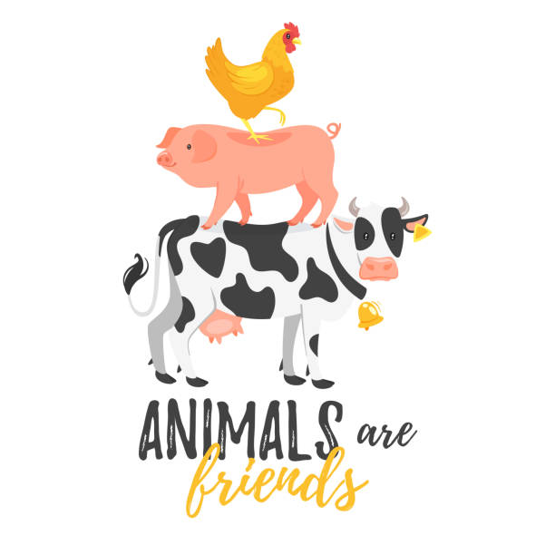 farm slogan for apparel design Vector cartoon style illustration of cow, pig and hen standing on each other. Animals are friends typography slogan for apparel design. farm animals stock illustrations