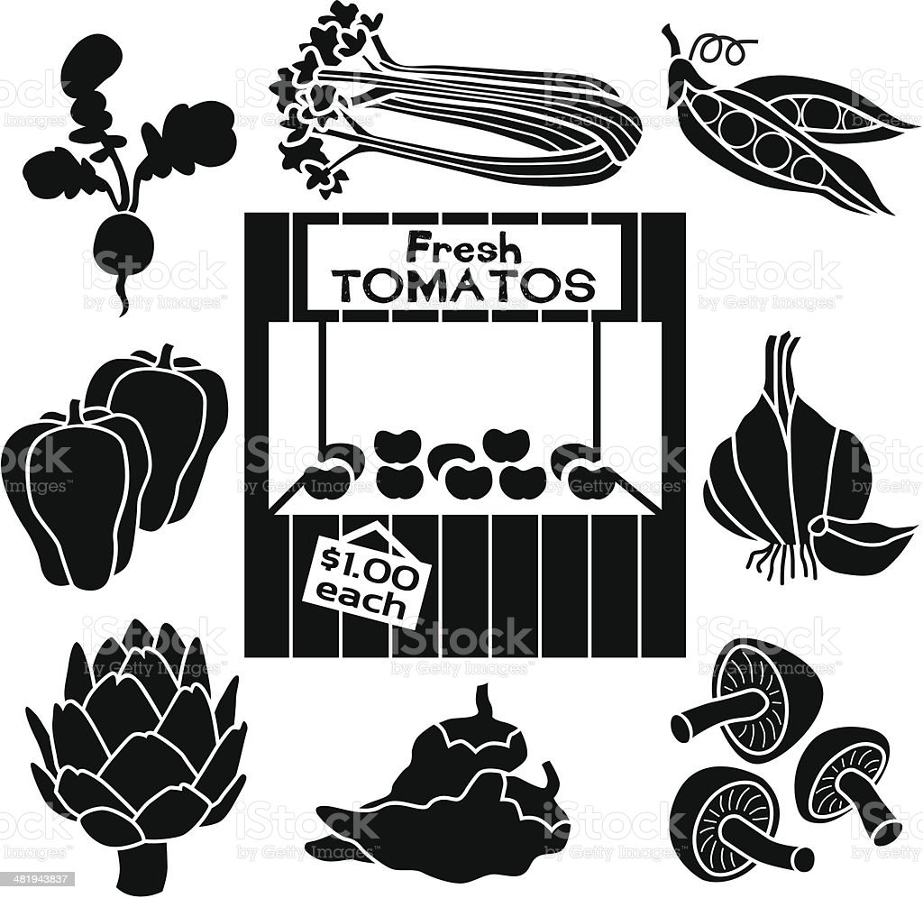 farm stand icons royalty-free stock vector art