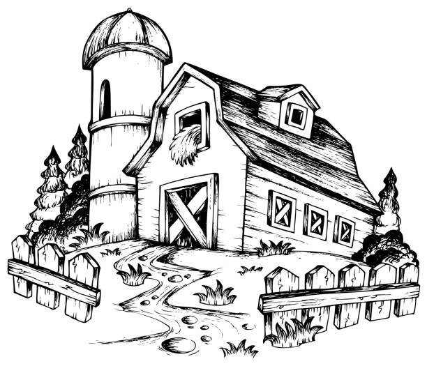 farm theme drawing 1 - clip art of a black and white barn stock illustrations, clip art, cartoons, & icons