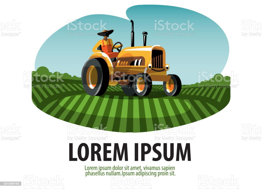 Farm. Tractor and Harvest. Logo, icon, emblem, template vector art illustration