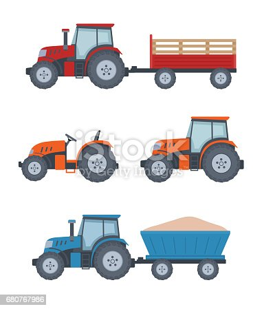 Farm tractor set on white background. Flat style, vector illustration.