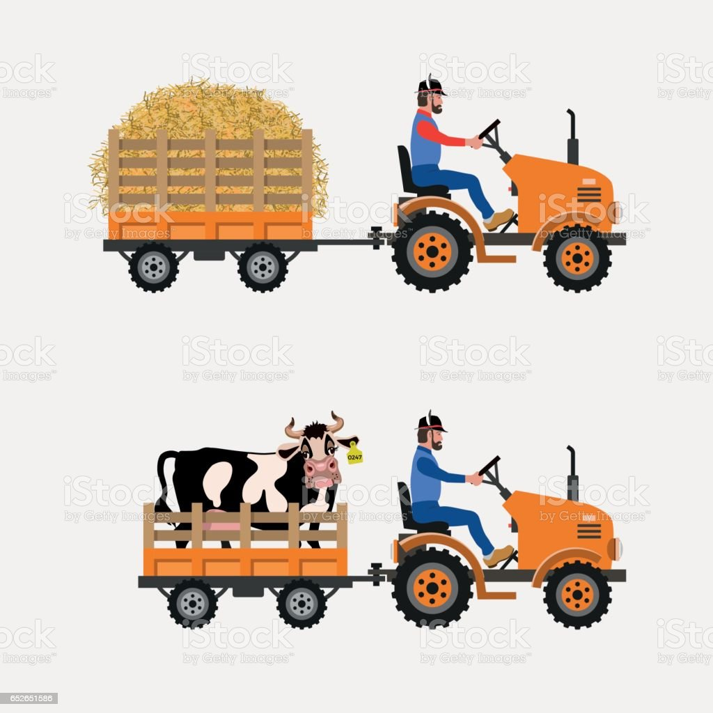 Farm tractor with trolley vector art illustration