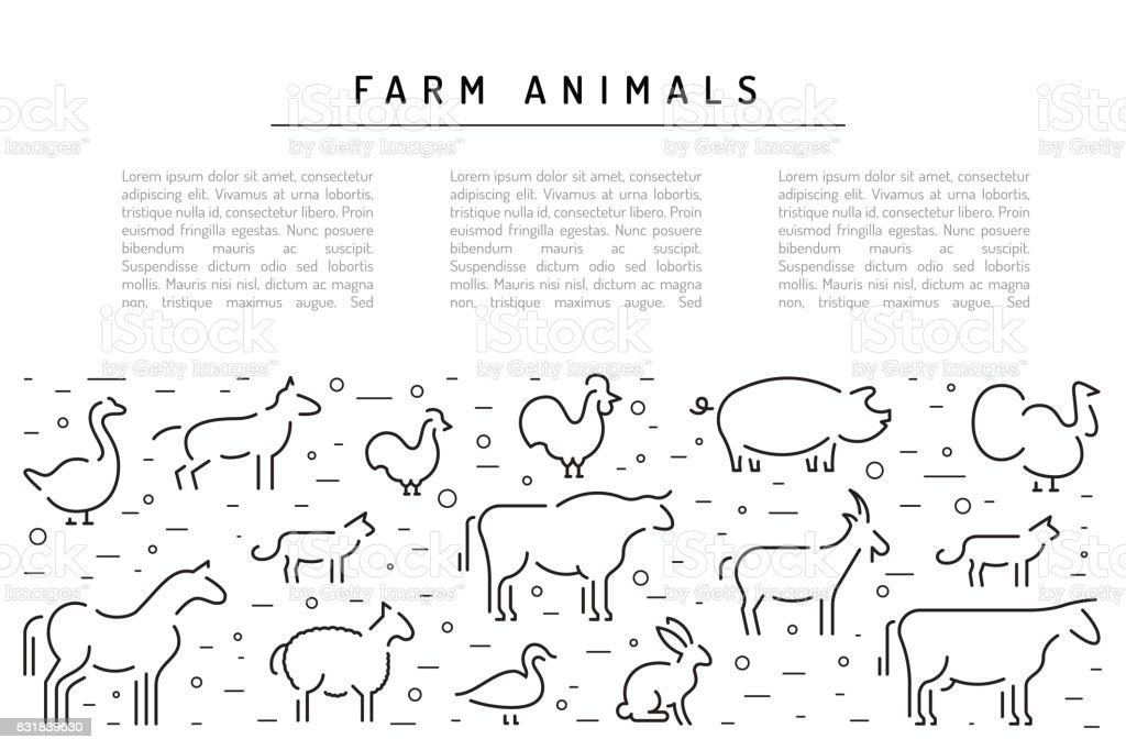farm vector animals silhouettes outline vector art illustration