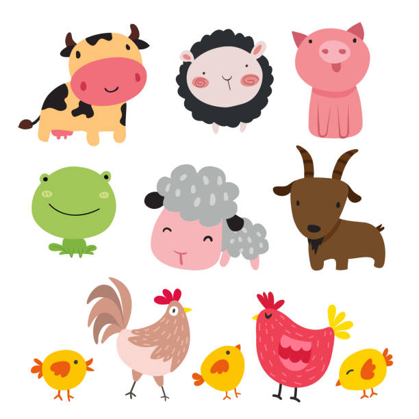 farm vector collection design - farm animals stock illustrations, clip art, cartoons, & icons