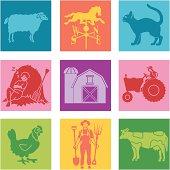 Vector icons with a farm theme.