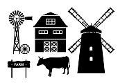 Farm elements - windmill, barn, wind turbines, wheel, cow, wooden plaque.