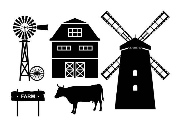 stockillustraties, clipart, cartoons en iconen met boerderij. vectorillustratie. - windmolen