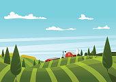 Farm vector landscape. Organic food concept for any design