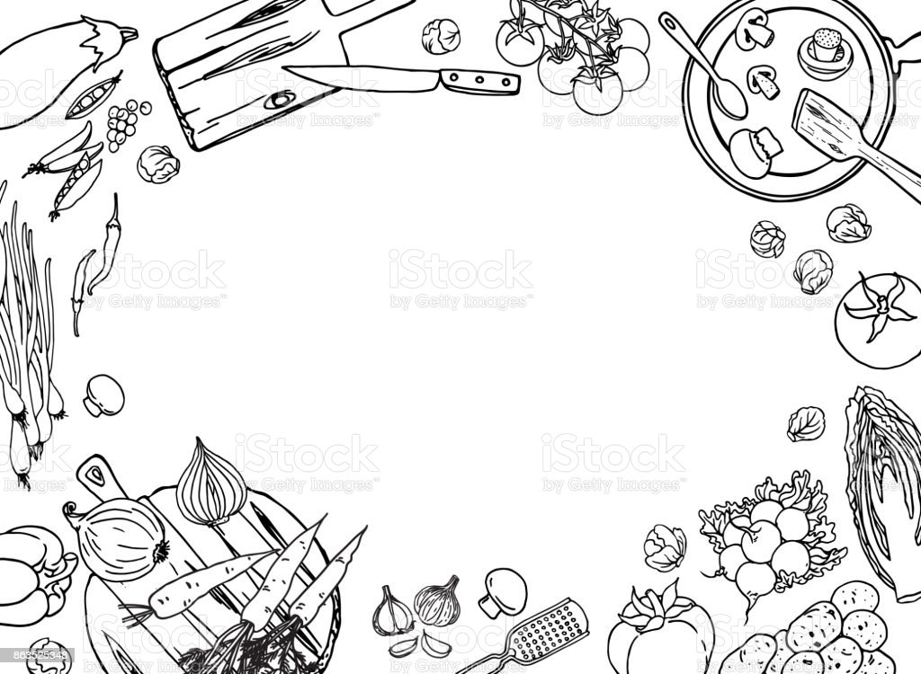 Farm Vegetables And Cooking Utensil Black And White Vector ...