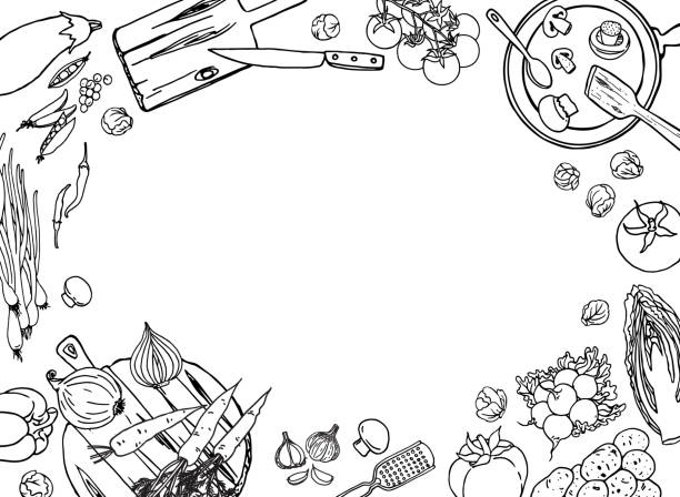 Farm vegetables and cooking utensil black and white vector illustration template Farm vegetables and cooking utensil black and white vector illustration template for design. Vegetarian food background. cooking borders stock illustrations