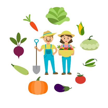 Farm vegetables and farmers family vector illustration. Cartoon