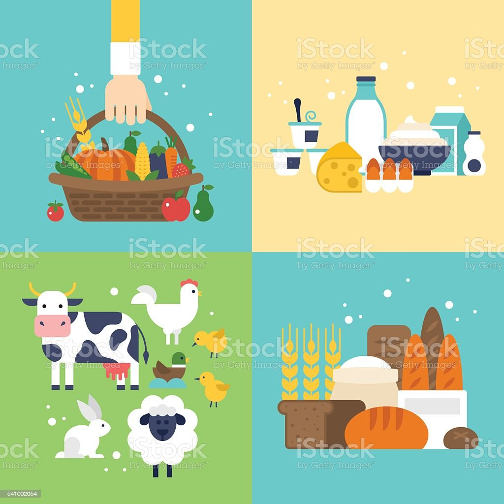 Farm vegetables, dairy products, bread and animals icons set vector art illustration