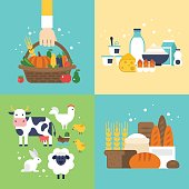 Farm vegetables, dairy products, bread and animals icons set