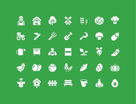 Farm & Vegetables Flat Icons