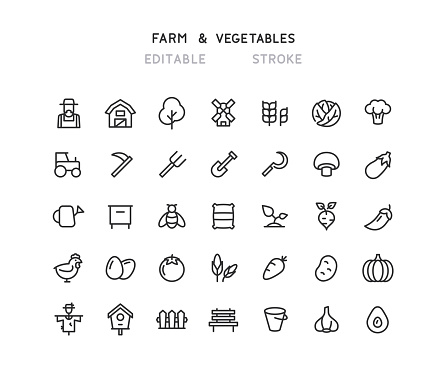 Farm & Vegetables Line Icons Editable Stroke
