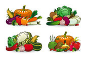 istock Farm vegetables vector icons cartoon veggies set 1280708892