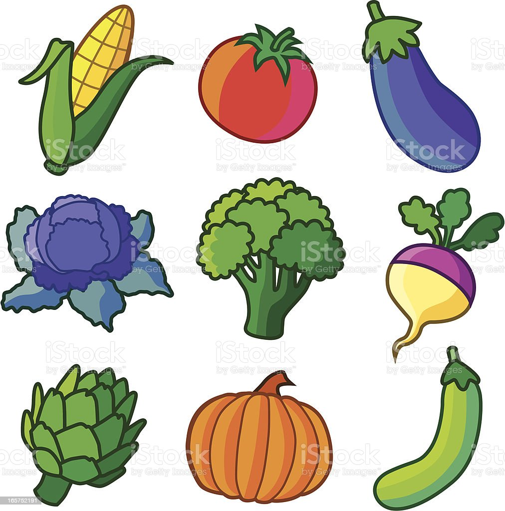farm vegetables vector art illustration