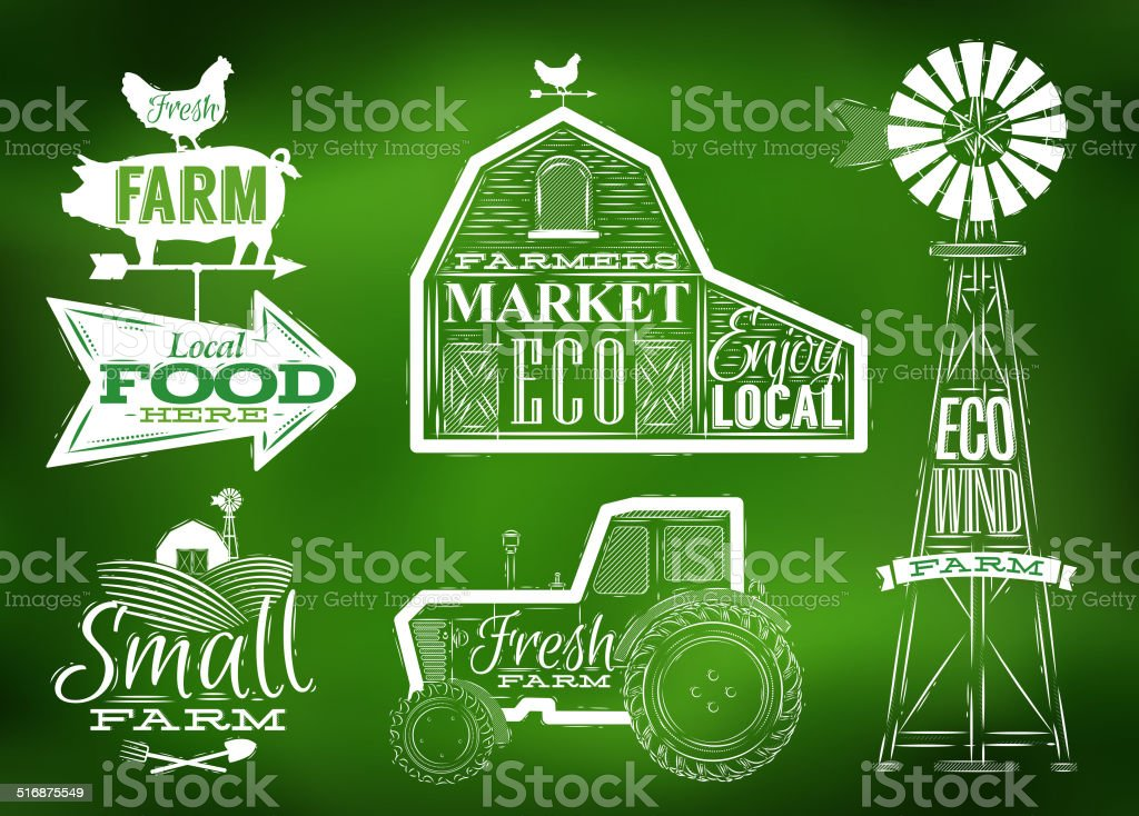 Farm vintage green vector art illustration