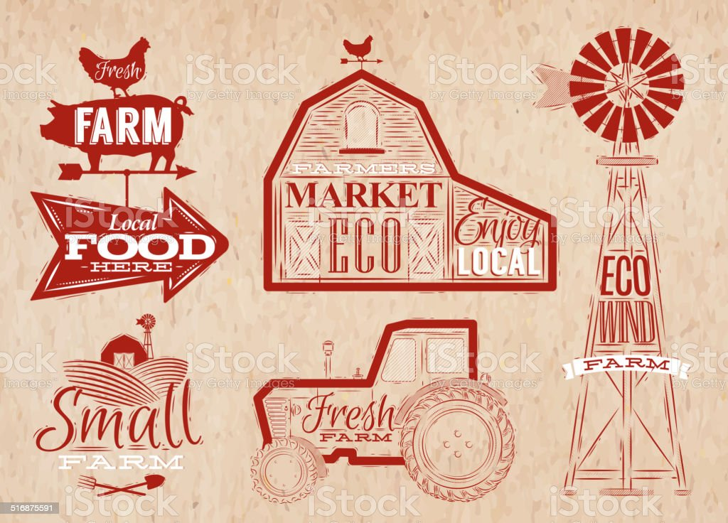 Farm vintage red vector art illustration