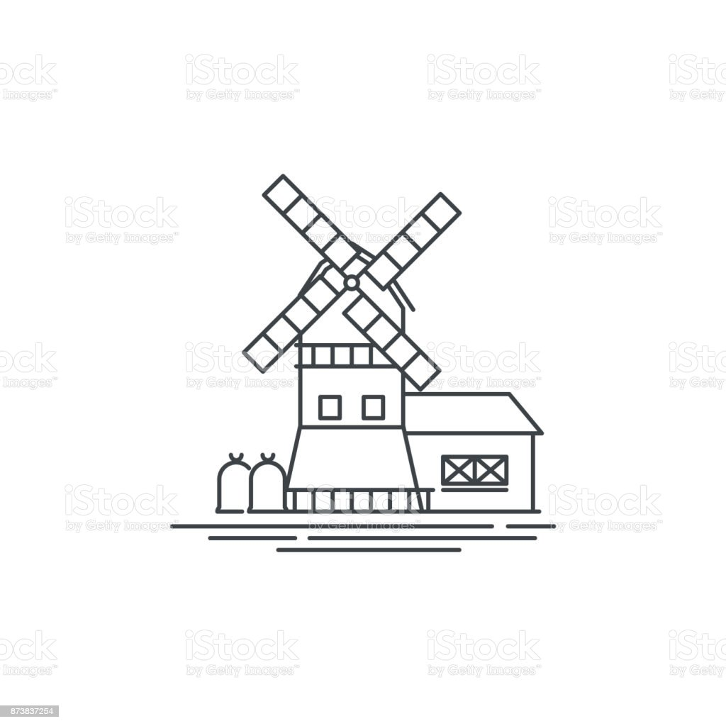 farm windmill line icon outline illustration of barn vector linear