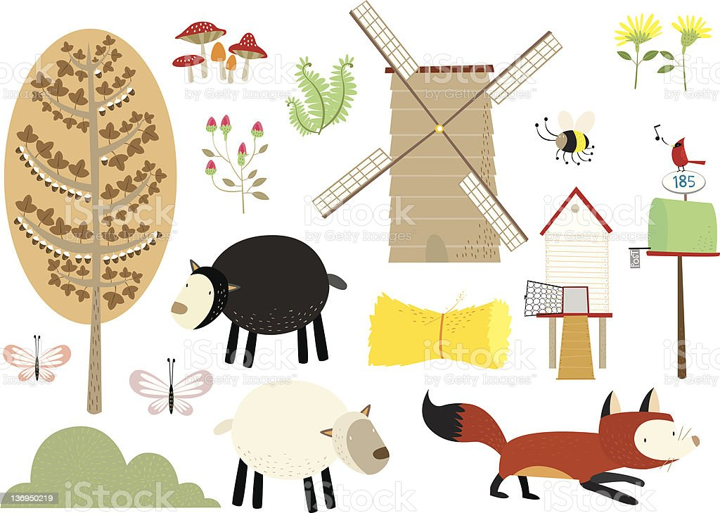 Farm Windmill with Animals and Hay royalty-free farm windmill with animals and hay stock vector art & more images of agriculture