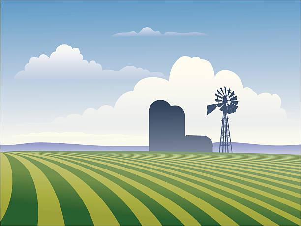 Farm With Windmill vector art illustration