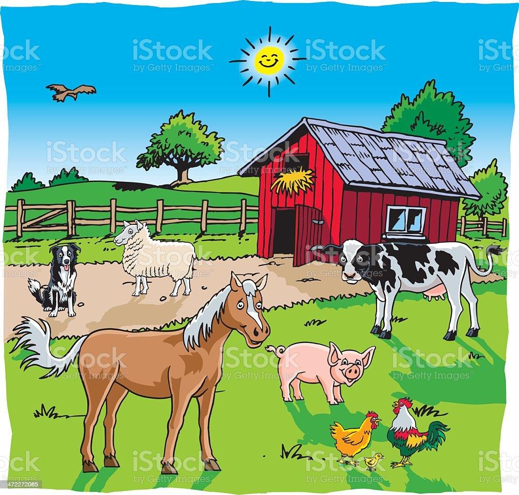 Farm Yard Animals royalty-free stock vector art