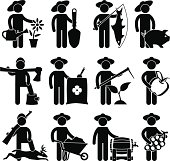 A set of village job that includes farmer, hunters and fermentator in pictogram.