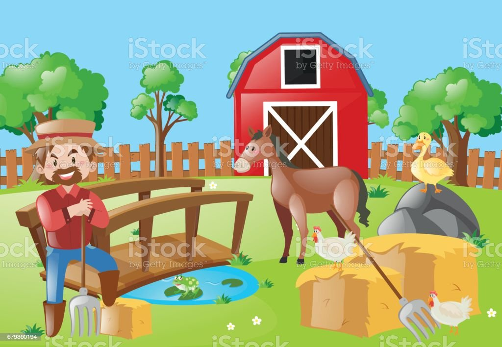 Farmer and animals in the farm field royalty-free farmer and animals in the farm field stock vector art & more images of adult