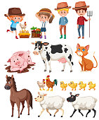 Farmer and animals on white background illustration