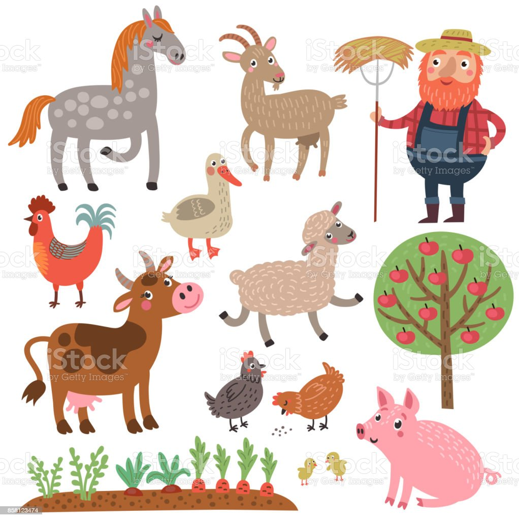 Farmer and animals. Set of characters vector art illustration