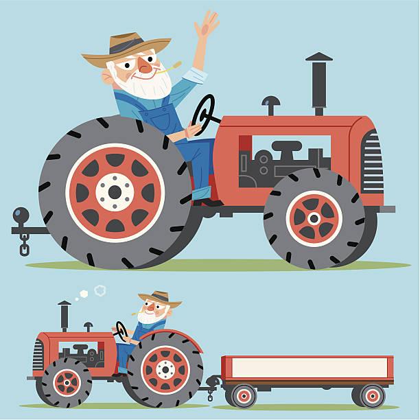 bildbanksillustrationer, clip art samt tecknat material och ikoner med farmer and tractor - traktor pulling