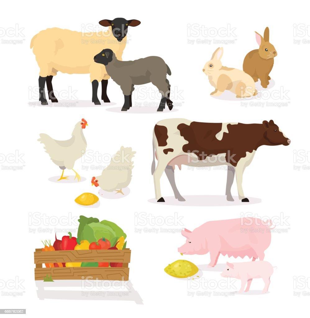 farmer animals set in cartoon style vector illustration of pig cow