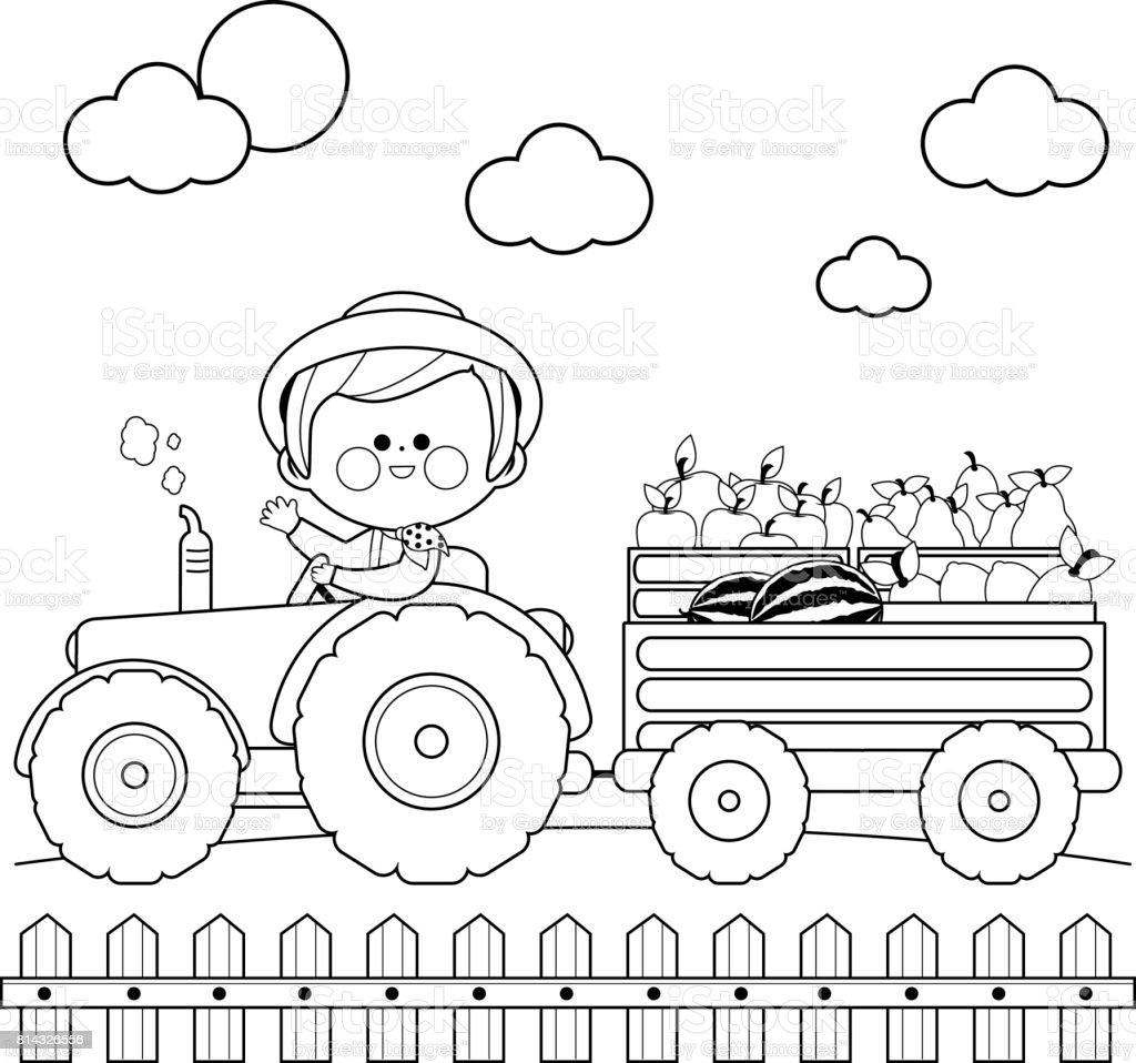 çiftçi çiftlikte Traktör Sürüş Ve Meyve Taşıyan Siyah Ve Beyaz Kitap