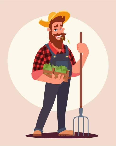 ilustraciones, imágenes clip art, dibujos animados e iconos de stock de ilustración vectorial plana de agricultor en el trabajo - ojos azules
