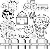 Set of farm animals and farmer boy. Black and white coloring book page