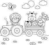 Little farmer boy at the farm driving a tractor, carrying animals: A cow, pig, chickens, sheep and a horse. Black and white coloring book page