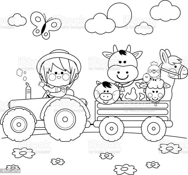 farmer boy driving a tractor and carrying farm animals black and vector id