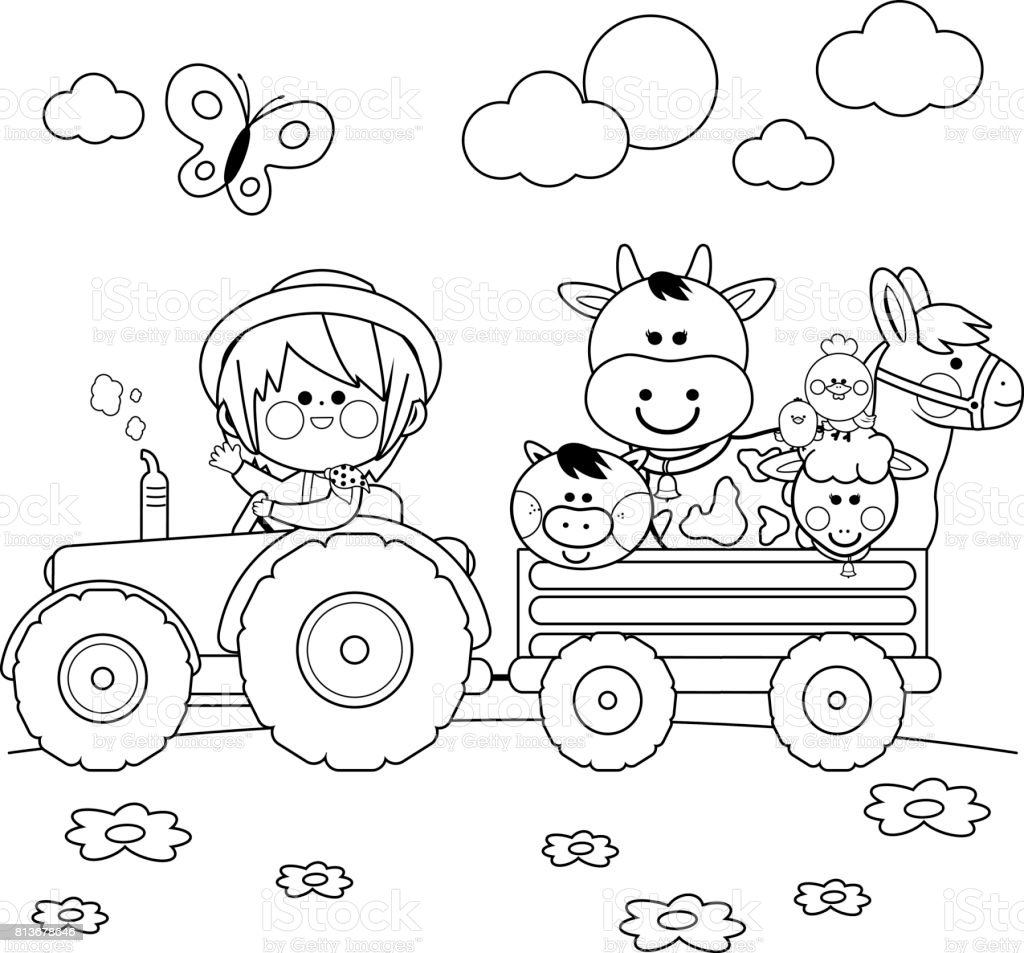 Farmer boy driving a tractor and carrying farm animals. Black and white coloring book page vector art illustration