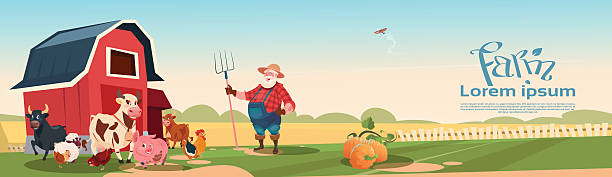Farmer Breeding Animals Farmland Background Farmer Breeding Animals Farmland Background Flat Vector Illustration rancher illustrations stock illustrations